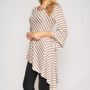 Luxe Label Tops - STRIPED ASYMMETRIC TUNIC TOP